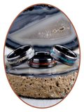 JB Memorials Ceramic Zirconium Opal Men's Cremation Ring - RB048BO_
