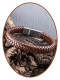JB Memorials Stainless Steel Vintage Leather Cremation Ash Bracelet - ASB028_