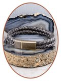 JB Memorials Stainless Steel Vintage Bronze Leather Cremation Ash Bracelet - ASB024B_