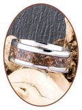 JB Memorials Stainless Steel Unisex Cremation Ash Ring 'Petrified Wood'- CRA025_