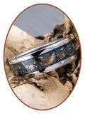 JB Memorials Edelstalen As Ring met Dinosaurus bot fragmenten - CRA016