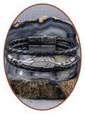 JB Memorials Stainless Steel Leather Ash Bracelet - ZAS014F_