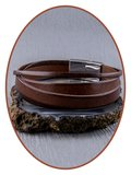 JB Memorials Edelstalen RVS / Italian Leren (As) Armband met vulschroef - ZAS019