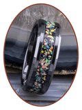 JB Memorials Tungsten Carbide or Black Ceramic Opal Cremation Ash Ring - OP400_