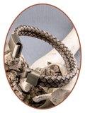 JB Memorials Stainless Steel Vintage Bronze Leather Cremation Ash Bracelet - ASB024E_