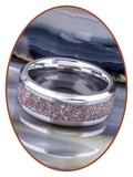 JB Memorials Stainless Steel Cremation Ash Ring 'Violet Touch'- CRA017_