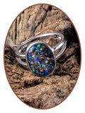 JB Memorials 925 Sterling Silver Cremation Opal Design Ring - CM030_