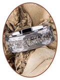 JB Memorials Tungsten Carbide Hammered  Cremation Ring - RB142_