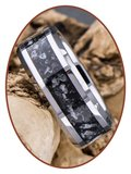 JB Memorials Very Exclusive Tungsten Carbide Obsedian Glow Cremation Ash Ring - CRT141_