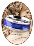 JB Memorials Stainless Steel Cremation Ash Ring 'Multi Color Glow'- CRA017_