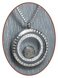 316L Stainless Steel JB Memorials Glass Medaillon Cremation Pendant - RSP112_
