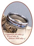 JB Memorials Natureline Wood / Abalone Shell Tungsten Cremation Ash Ring - WR006_