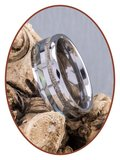 JB Memorials Natureline Abalone Shell Tungsten Facet Cremation Ash Ring - WR009_