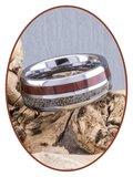 JB Memorials Exclusive Natureline Wood / Tungsten  Houten Ring met As - WR004