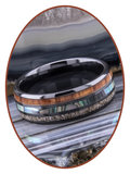 JB Memorials Exclusive Natureline Wood / Abalone Shell Black Ceramic Zirconium As Ring - WR013