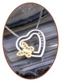 Edelstalen/RVS 'Zirconia' Vlinder Design Ashanger - B415