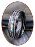 JB Memorials Natureline Abalone Shell Ceramic Zirconium Duo Cremation Ash Ring - WR013D_