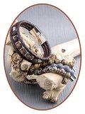 JB Memorials Edelstalen RVS / Leren (As) Kralen Armband met vulschroef - ZAS014A