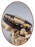JB Memorials Stainless Steel Leather Beads Ash Bracelet - ZAS014A_