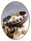 JB Memorials Stainless Steel Leather Beads Ash Bracelet - ZAS014X_