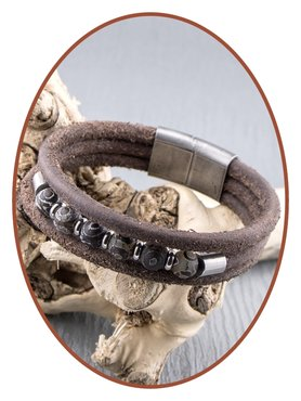 JB Memorials Stainless Steel Vintage Leather (Beads) Ash Bracelet - ZMA239