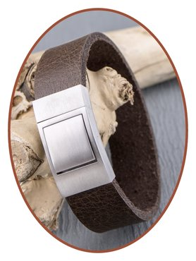 JB Memorials Stainless Steel Leather Special Cremation Ash Bracelet - ZAS051