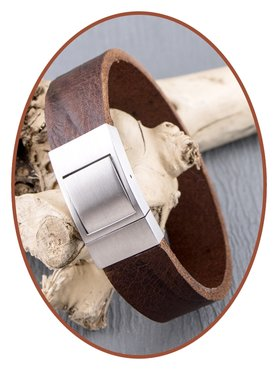 JB Memorials Stainless Steel Leather Special Cremation Ash Bracelet - ZAS052