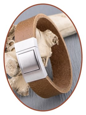 JB Memorials Stainless Steel Leather Special Cremation Ash Bracelet - ZAS053