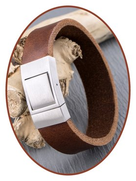 JB Memorials Stainless Steel Leather Special Cremation Ash Bracelet - ZAS054