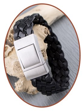 JB Memorials Stainless Steel Leather Special Cremation Ash Bracelet - ZAS055