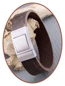 JB Memorials Stainless Steel Vintage Leather Cremation Ash Bracelet - ZAS057