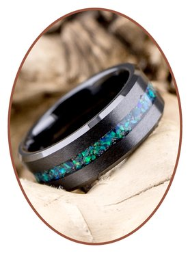 JB Memorials Ceramic Zirconium Opal Men's Cremation Ring - RB048BO