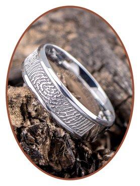 316L Stainless Steel (Duo) Fingerprint Remembrance Ring - TR009V
