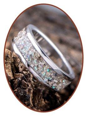 JB Memorials Stainless Steel Unisex Cremation Ash Ring 'Sparkling'- CRA004