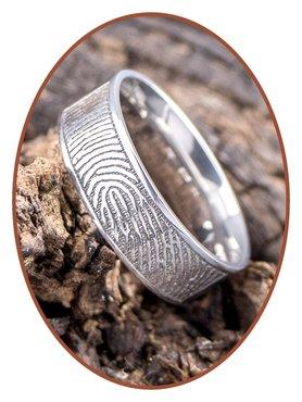 JB Memorials Stainless Steel Polished Fingerprint Remembrance Ring 8mm - TR012