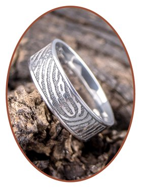 JB Memorials Stainless Steel Polished Fingerprint Remembrance Ring 8mm - TR012W