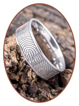 JB Memorials Stainless Steel Polished Fingerprint Remembrance Ring 6mm - TR012D