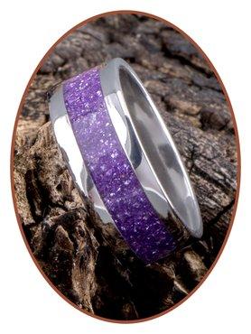 JB Memorials Stainless Steel Unisex Cremation Ash Ring 'Magic Violet'- CRA011