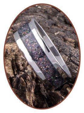 JB Memorials Stainless Steel Unisex Cremation Ash Ring 'Bright Violet'- CRA010
