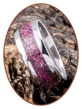 JB Memorials Stainless Steel Unisex Cremation Ash Ring 'Rose Red/Pink'- CRA009