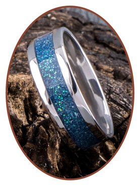 JB Memorials Stainless Steel Unisex Cremation Ash Ring 'Bright Blue Green'- CRA008