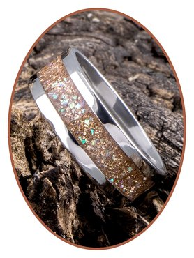 JB Memorials Stainless Steel Unisex Cremation Ash Ring 'Sparkling Bronze'- CRA007