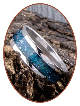 JB Memorials Stainless Steel Unisex Cremation Ash Ring 'Peacock Green'- CRA006