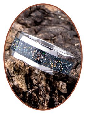 JB Memorials Stainless Steel Unisex Cremation Ash Ring 'Gold Blue'- CRA005