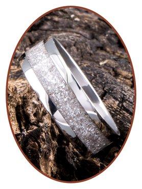 JB Memorials Stainless Steel Unisex Cremation Ash Ring 'Sparkling White'- CRA012