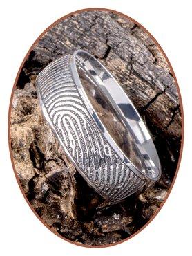 JB Memorials Stainless Steel Deep Engraved Polished Fingerprint Remembrance Ring - TR007
