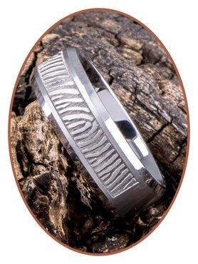 Tungsten Carbide Matte Fingerprint Remembrance Ring - TUR001
