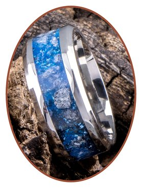 JB Memorials Stainless Steel Unisex Cremation Ash Ring 'Sky Blue Glow'- CRA013