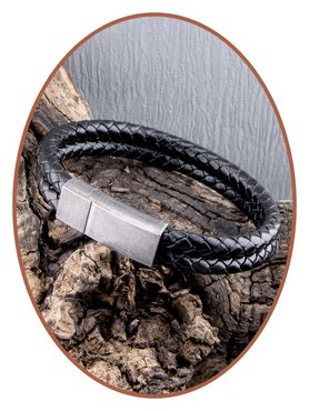 JB Memorials Stainless Steel Vintage Leather Cremation Ash Bracelet - ASB029