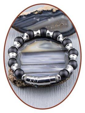 JB Memorials Stainless Steel Onyx Mens Ash Bracelet - KHA017V